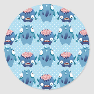 Crazy Blue Monsters Fun Creatures Gifts for Kids Round Stickers