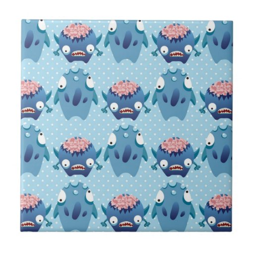 Crazy Blue Monsters Fun Creatures Gifts for Kids Tiles