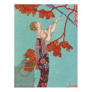 Crazy Blue Parrot by George Barbier Postcard