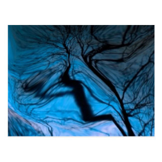 crazy blurred tree, blue postcards