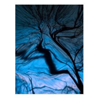 crazy blurred tree, blue postcard