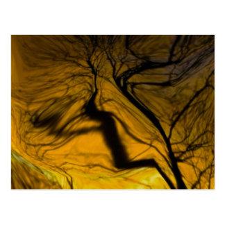 crazy blurred tree, golden postcard