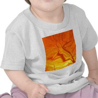 crazy blurred tree orange t-shirt