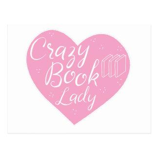 crazy book lady heart postcard