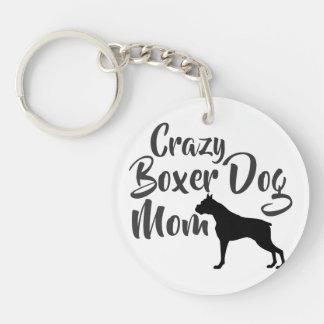 Crazy Boxer Dog Mom Double-Sided Round Acrylic Key Ring
