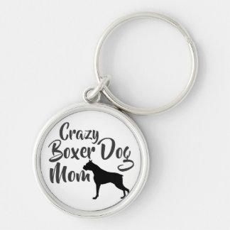 Crazy Boxer Dog Mom Key Ring