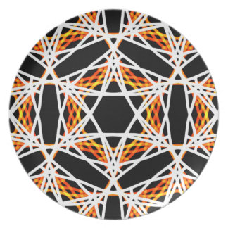 Crazy Bright Gold and Black Kaleidoscope Pattern Plate