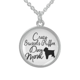 Crazy Brussels Griffon Dog Mom Sterling Silver Necklace