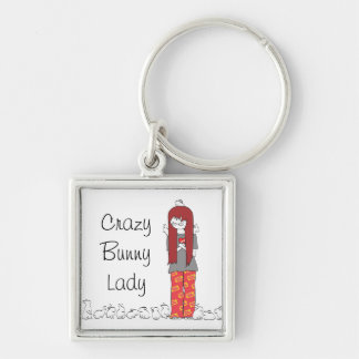 CRAZY BUNNY LADY Silver-Colored SQUARE KEY RING
