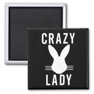 CRAZY BUNNY LADY SQUARE MAGNET