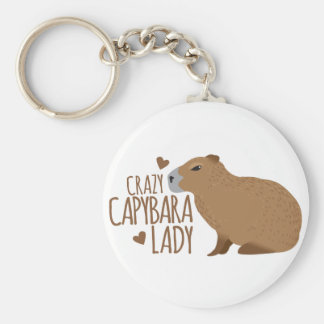 crazy capybara lady key ring