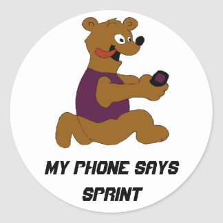 Crazy Cartoon Bear With Cell Phone Classic Round Sticker