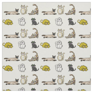 Crazy Cartoon Cats Fabric