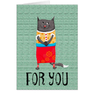 Crazy cat in floral skirt, For You Card
