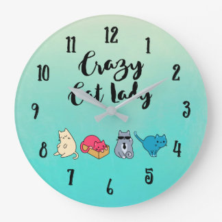 Crazy Cat Lady and 4 Cute Cats Wallclocks