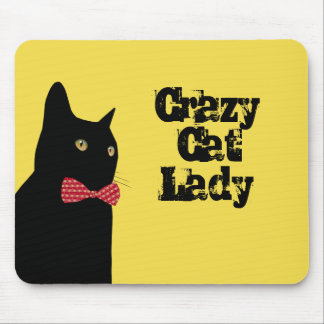 Crazy Cat Lady - Black Cat with Red Bow Tie Mouse Pad