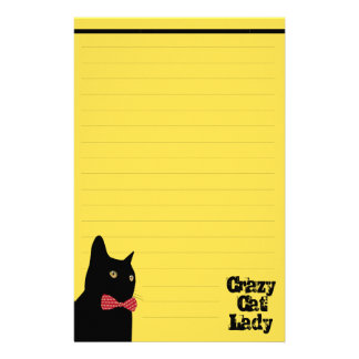 Crazy Cat Lady - Black Cat with Red Bow Tie Stationery