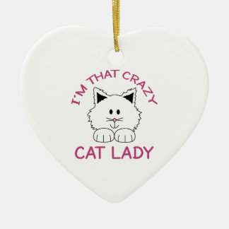 CRAZY CAT LADY CERAMIC HEART DECORATION