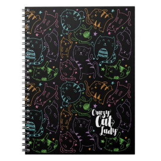 Crazy Cat Lady Colorful Cartoon Pattern Gift Notebooks