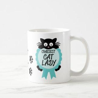 Crazy Cat Lady Craziest Award Paw Print Funny Gift Coffee Mug