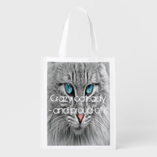 Crazy cat lady, custom family pet photo reusable grocery bag