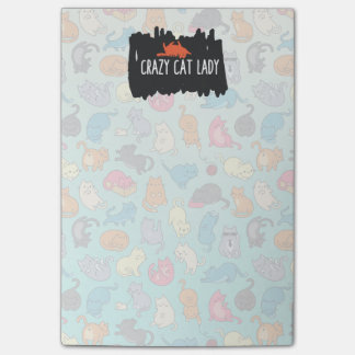 Crazy Cat Lady Cute and Playful Cat Pattern Post-it Notes
