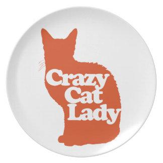 Crazy cat lady dinner plates