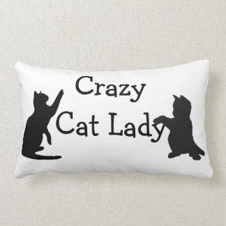 Crazy Cat Lady Fun Animal Art Lumbar Pillow