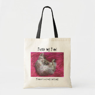 Crazy Cat Lady fun pink tote bags