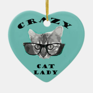 Crazy Cat Lady Funny Slogan with Hipster Glasses Ceramic Ornament
