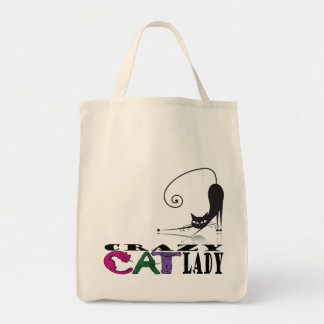 """""""Crazy Cat Lady"""" in Cat Letters & Black Cat Tote 2 Grocery Tote Bag"""