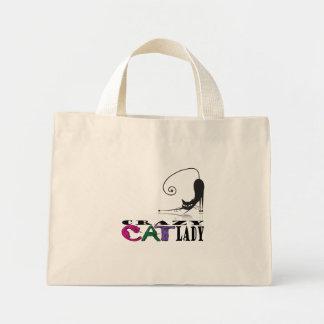 """""""Crazy Cat Lady"""" in Cat Letters & Black Cat Tote 5 Mini Tote Bag"""