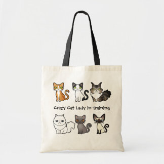 Crazy Cat Lady in Training (design your own cat) Budget Tote Bag