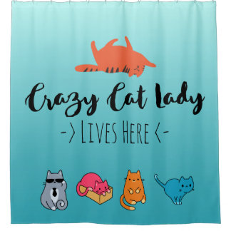 Crazy Cat Lady Lives Here Shower Curtain