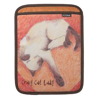 Crazy Cat Lady orange siamese iPad Sleeve
