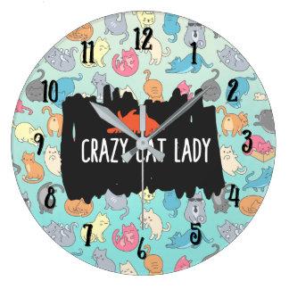Crazy Cat Lady Playful Cat Pattern Large Clock