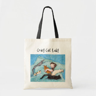 Crazy Cat Lady queen cats tote bags
