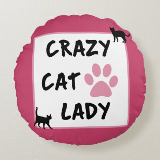Crazy Cat Lady Round Polyester Throw Pillow