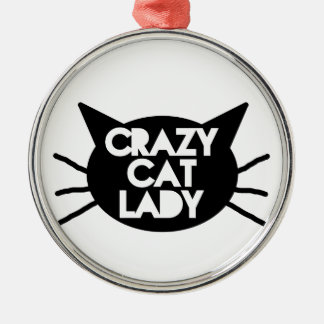 Crazy Cat Lady Silver-Colored Round Decoration