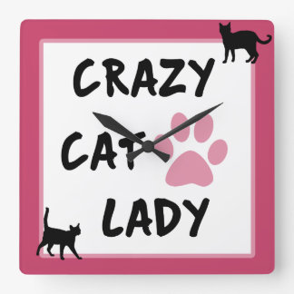 Crazy Cat Lady Square Wall Clock