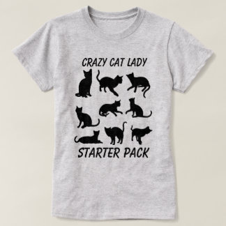 """""""Crazy Cat Lady Starter Pack"""" with three cats T-Shirt"""