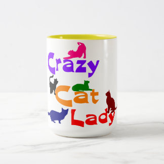 CRAZY CAT LADY Two-Tone COFFEE MUG