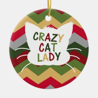 Crazy Cat Lady with Christmas Color Chevron Round Ceramic Decoration