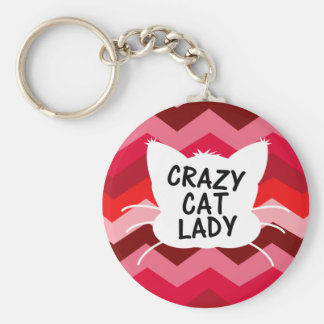 Crazy Cat Lady with Crazy Chevron Pattern Basic Round Button Key Ring