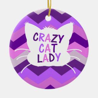 Crazy Cat Lady with Purple Burst Cheveron Pattern Round Ceramic Decoration