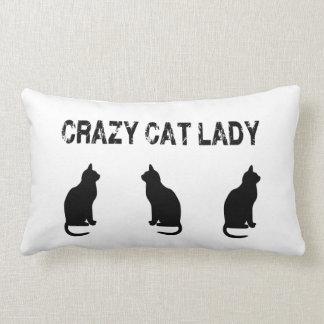 Crazy Cat Lady With Three Cats Lumbar Pillow