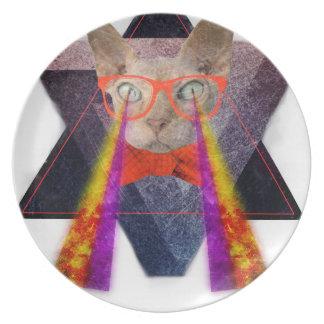 Crazy Cat Laser Beam Fantasy Dinner Plates
