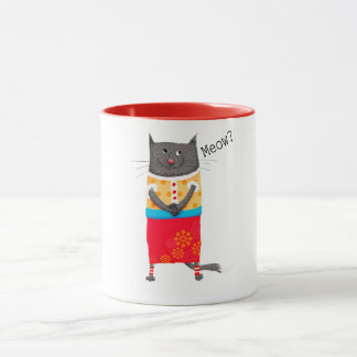Crazy cat, Meow. humor. Mug