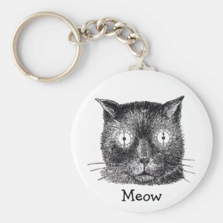 Crazy Cat with Clock Eyes Key Chain