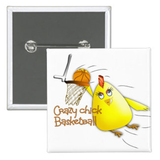 (Crazy Chick Basketball) 15 Cm Square Badge